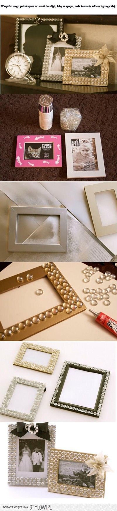 Gorgeous Frames ♥ I really like these DIY frames, very simple to do, but elegant turn out.. spray paint, frames, glass beads, bows, silver, gold, clear, black..