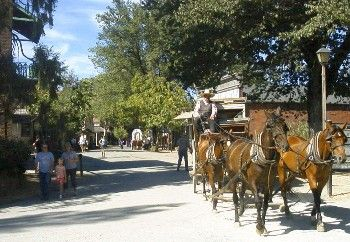 Columbia State Park and surrounds: Live Gold Rush-era town, with touristy gold panning (little kids will LOVE), shops (fountain, candy shop, books, etc), Fallon House theatre. Nearby are Mark Twain and Bret Harte markers and sites, caverns and caves, rivers, Railtown (Jamestown), and antiques galore (Sonora).