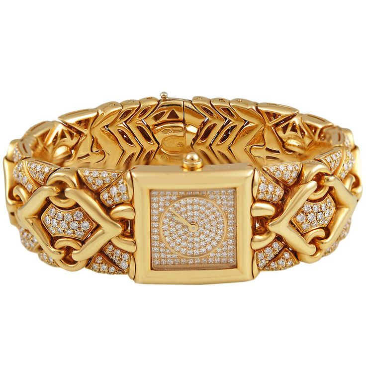 "BULGARI '' TRIKA"" Gold Diamond Bracelet Watch."