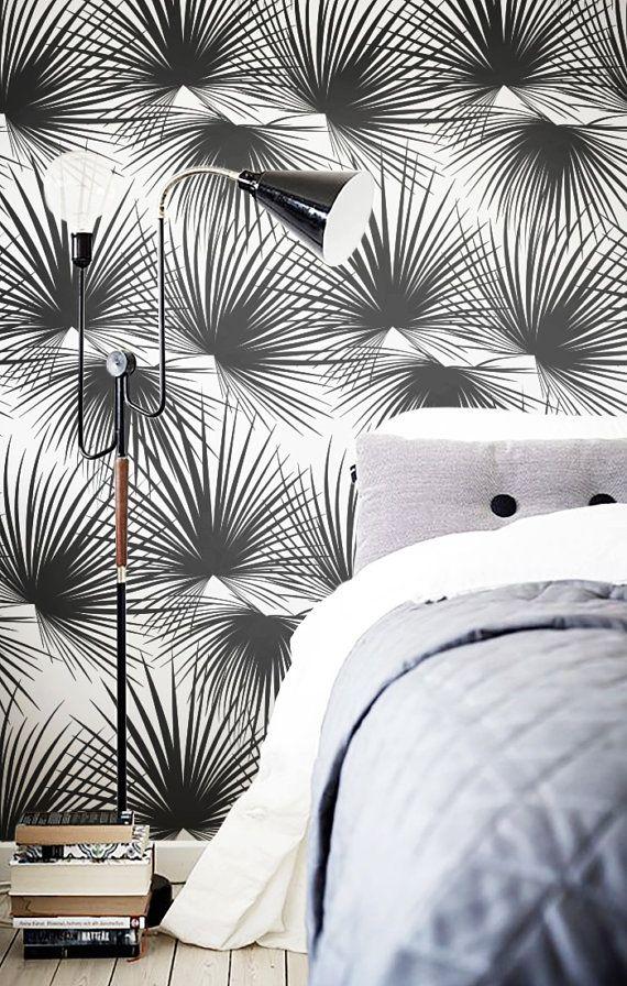 Self adhesive vinyl wallpaper, wall decal - Palm pattern print - 098 SNOW / MIDNIGHT