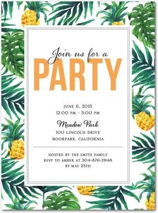 Tropical Delight - Party Invitations in Mango | East Six