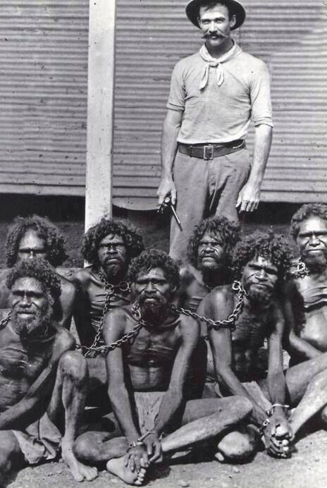 Slave owner and his slaves. Many slaves would be treated like animals,.....we all have the same souls