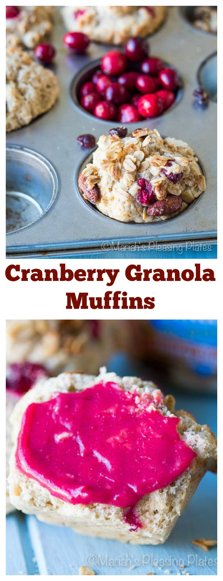 A sweet and tart muffin topped with a homemade nutty granola. These Cranberry Granola Muffins are sure to be the hit of your holiday brunch table.