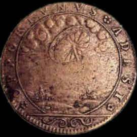 Medal apparently commemorating a UFO sighting of a wheel like object in Renaissance France.:
