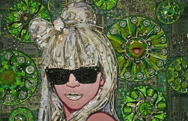 The 3D mosaic of Lady Gaga was made of old junk