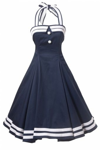Collectif Clothing - COLLECTIF 50s Sindy Doll Sailor navy swing dress.. I don't know why, but this is a really cute dress!