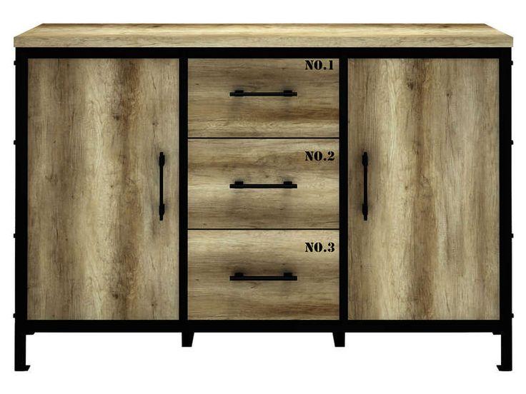 Rangement 2 portes 3 tiroirs LOFT - Vente de Buffet, bahut, vaisselier - Conforama