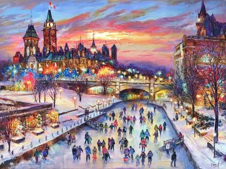"""Festive Ottawa"" - giclee print by world renowned artist Elena Khomoutova"