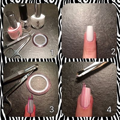 Tutorial nail art rosa a strisce con filo decorativo