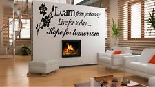 Learn from Yesterday Family Love Art Wall Quotes/Wall Stickers/ Wall Decals kku