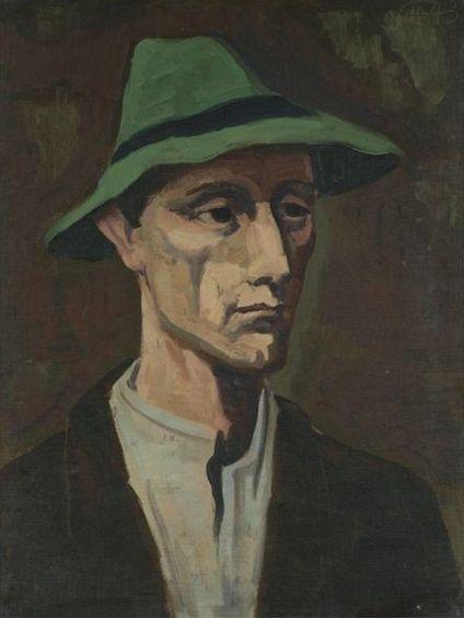 Karl Hofer, Man with Green Hat, 1943
