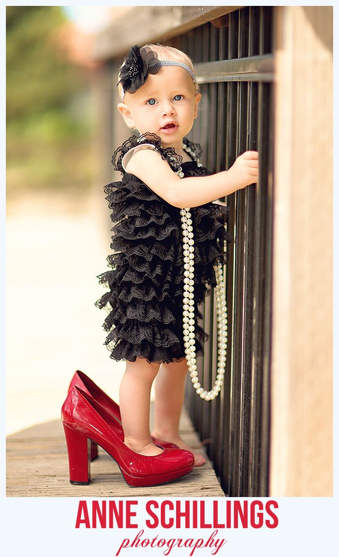 Anne Schillings Photography Child Portrait Photo One year old high heels pearls romper hair bow outdoor birthday sonoma county bridge fancy dress up play windsor santa rosa healdsburg marin napa photographer baby girl  pettiromper & hair bow by @TheHairBowCo    https://www.facebook.com/anneschillingsphotography