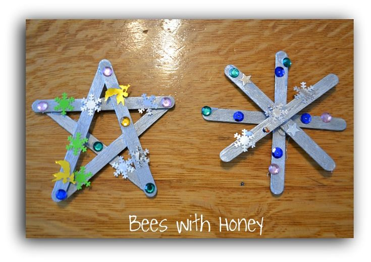 Homemade christmas ornaments made from popsicle sticks for Christmas projects with popsicle sticks