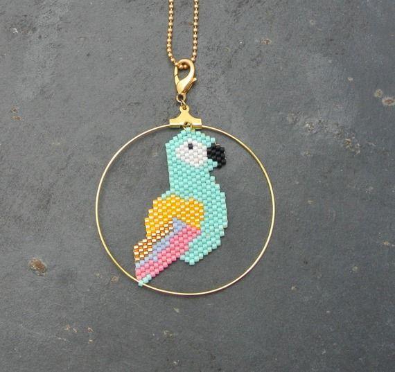 Collier sautoir perroquet en perles Miyuki