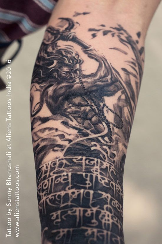 Rage of Lord Shiva Tattoo by Sunny Bhanushali at Aliens Tattoo India. Client wants an entire tattoo sleeve based on Lord Shiva theme. I did this digital painting of lord shiva last year, this painting was based on the original series of samurai character series created by Artgerm. Client loved my work, however he wanted me to add Maha Mrityunjaya Mantra to it. I did calligraphy for this Shiva Mantra and added artistically to the original artwork. This is the first time I have worked on…
