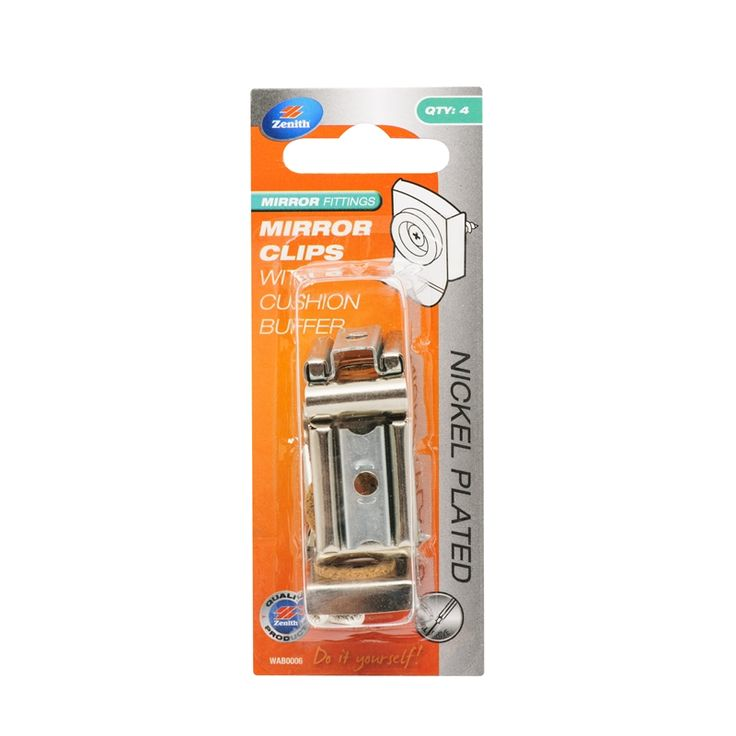 Bunnings - Zenith Mirror Fixing Clips With Cushion Buffer - 4 Pack  $14.55