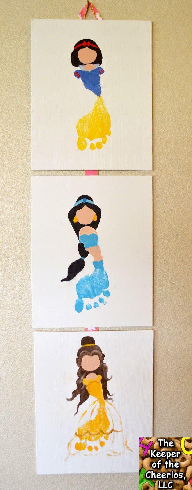 Princess Footprints #2 ...Snow White Footprint, Jasmine Footprint (Aladdin Footprint), Belle Footprint (Beauty and the Beast Footprint) Disney