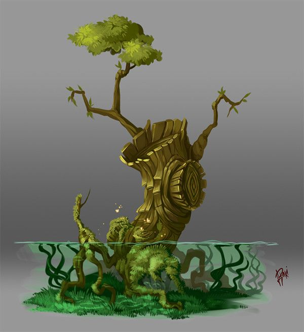 Concept Art. Tree 005, Raki Martinez on ArtStation at https://www.artstation.com/artwork/RDVmD