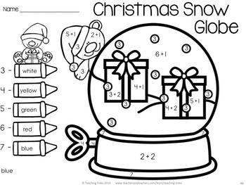 Christmas Fun! Snow Globe addition to 7. Christmas for Kinder Kids has 50 fun Language and Math Christmas themed NO PREP printables PLUS 56 illustrated Christmas Word Wall cards. $