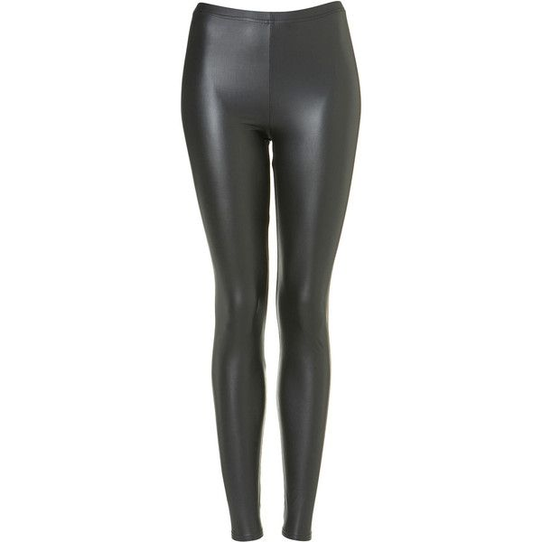 TOPSHOP Khaki Plain Matte Wetlook Leggings ($12) ❤ liked on Polyvore featuring pants, leggings, bottoms, jeans, topshop, khaki, legging pants, wetlook pants, topshop pants and wet look leggings