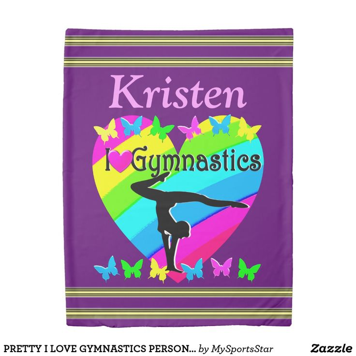 PRETTY I LOVE GYMNASTICS PERSONALIZED DUVET Calling all Gymnasts! Enjoy the best selection of personalized Gymnastics Home Decor from Zazzle.  Not available in stores! http://www.zazzle.com/mysportsstar/gifts?cg=196751399353624165&rf=238246180177746410   #Gymnastics #Gymnast #Gymnastgift #Gymnastgirl #PersonalizedGymnast #GymnasticsDecor