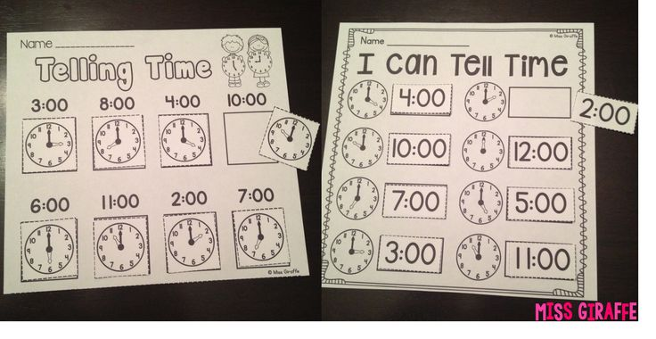 Telling Time Cut and Paste Activities and so much more at this link