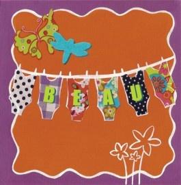 Geboortekaartje Waslijn. Kleurrijk geboortekaartje met de naam van je kind op de waslijn. Het origineel is geschilderd en bewerkt met accenten van stof.