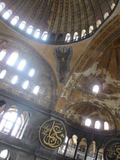 The Aya Sophia used to be a church, before it was transformed into a mosque. Today it is a museum, displaying both Christian and Muslim forms of art. Fascinating!