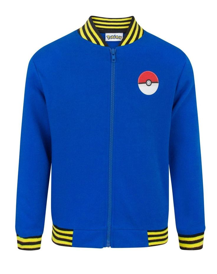 Pokemon Pikachu Boy's Bomber Jacket (7-8 Years). Officially licensed Pokemon merchandise. Perfect for Pikachu fans. Features Pokeball design on the front, with large Pikachu print on the reverse. Long-sleeved blue bomber jacket with zip-up front, UK sizing.