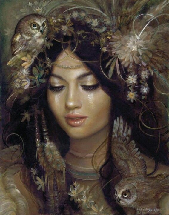 """Owl Goddess ~ Blodeuwedd,The Owl Maiden~Welsh Owl Goddess ~ """"I was fashioned from flowers.I mean that quite literally.Two men,great magicians I am told,crafted my body from bud and blossom,petal and pollen.Nine kinds of flowers, of course, they knew that much: the tiny tassels of great trees, the sweet small meadow blooms, the wild-flowers woven with the wheat. And the hawthorn-bloom, white as winter. Hawthorn. Did they not know? The arrogance of Men, to believe they see."""""""