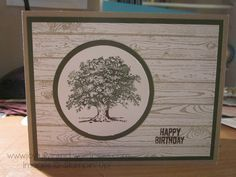 """A """"Lovely"""" Masculine Card with """"Lovely as a Tree"""" & """"Hardwood"""" stamp sets. All supplies Stampin' Up! For a complete supply list check out my blog. Thanks for taking a look! https://joyfullyinked.wordpress.com/2016/03/18/a-lovely-masculine-birthday-card/"""