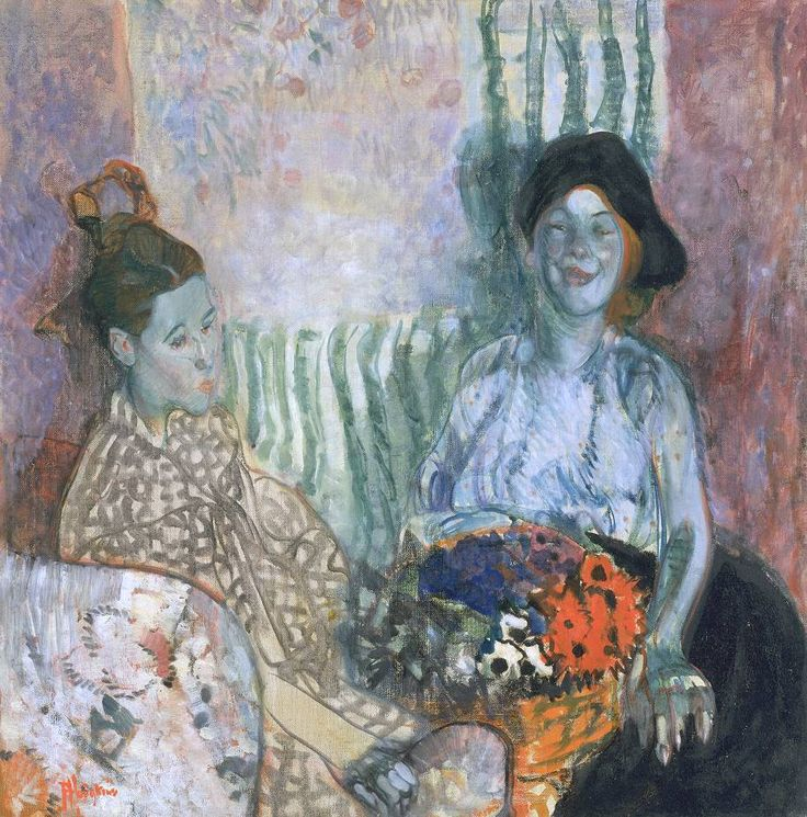 Frances Hodgkins 'Loveday and Ann: Two Women with a Basket of Flowers', 1915. I love this painting: the use of colour and combination of texture and pattern. I also enjoy the contrast between the areas that feel drawn and the very painterly parts: it is an oil painting but appears to be handled almost like pastel in some areas (especially their faces).