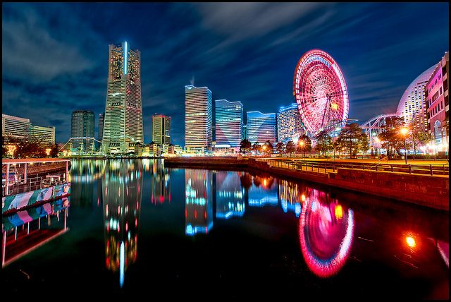 Yokohama's Minato Mirai area reflected in the waters near the Port of Yokohama.