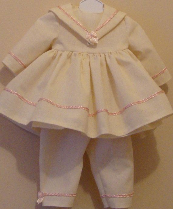 Dress, pantaloons and slip for American Girl size or 18 inch doll, american girl sailor dress, 18 inch sailor dress, 18 inch beige outfit