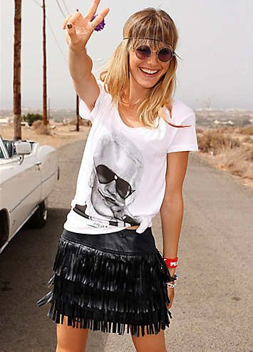 AJC Black Faux Leather Skirt #Black #FauxLeather #Skirt #AJC £40.00