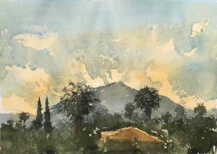 Turkey, sunrise. Watercolor.