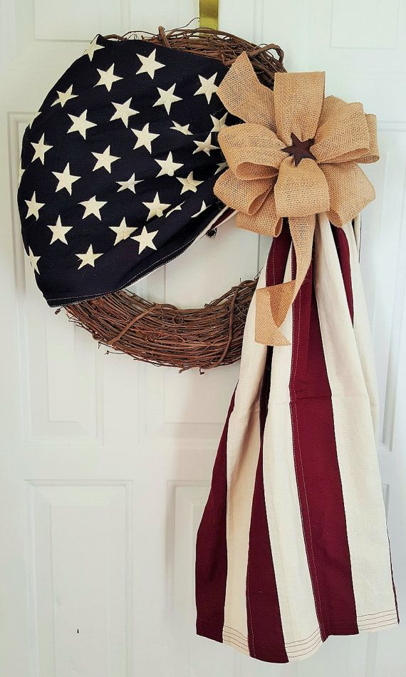 American Flag Wreath-Patriotic Wreath-Flag by TinasDecoMeshWreaths