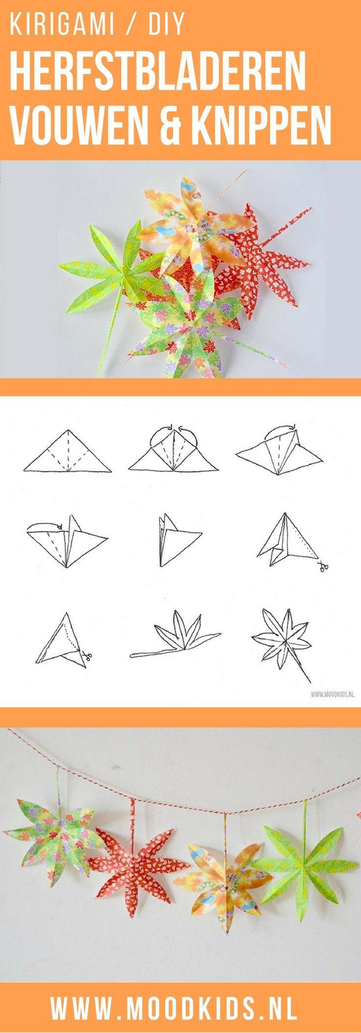 Roppongi maakte voor een erg leuke kirigami herfstslinger. Wat kirigami is? In het japans betekent dat knippen van papier. Origami is vouwen van papier. Lees hier hoe je de herfstbladeren maakt.