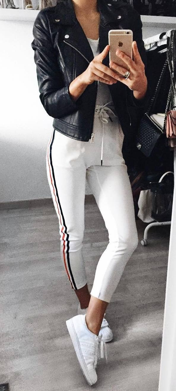 casual style perfection / black biker jacket + top + white pants + sneakers