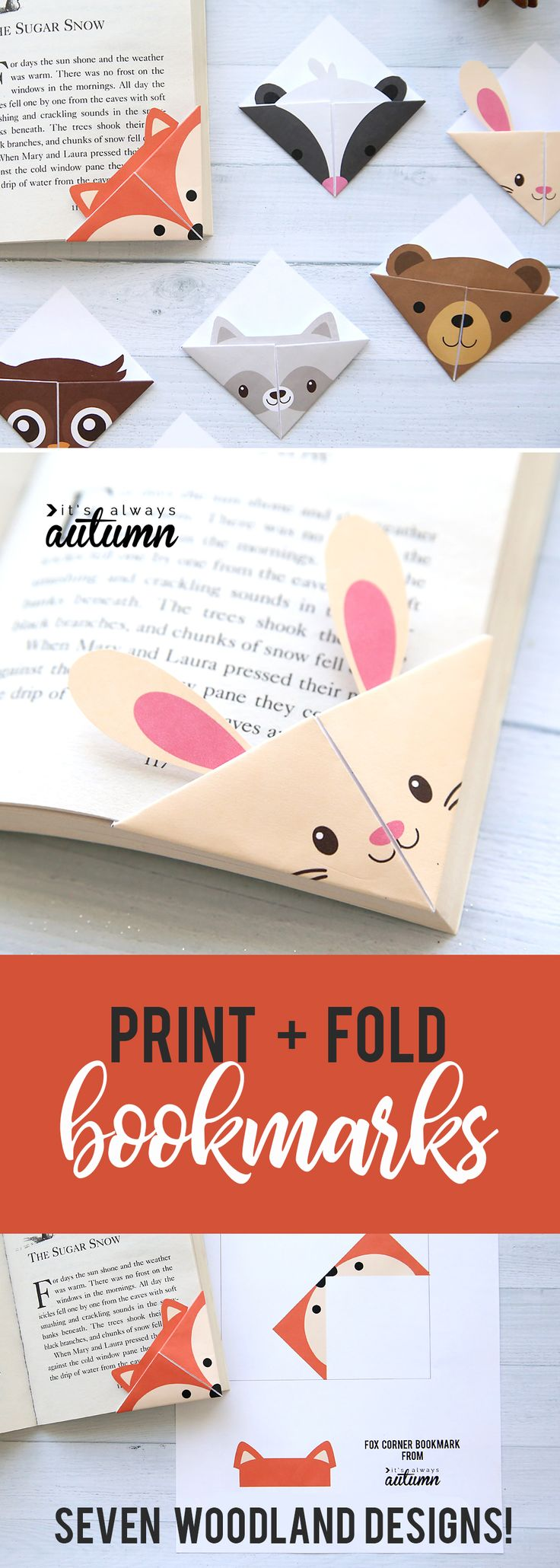 Cute folded bookmarks! Seven different woodland animal origami bookmark template…