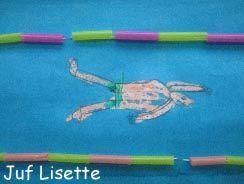 Draw Yourself Swimming between Buoys (made of drinkingstraws and thread). ~ Teken jezelf zwemmend tussen de boeien ( gemaakt van stukjes van drinkrietjes en draad).