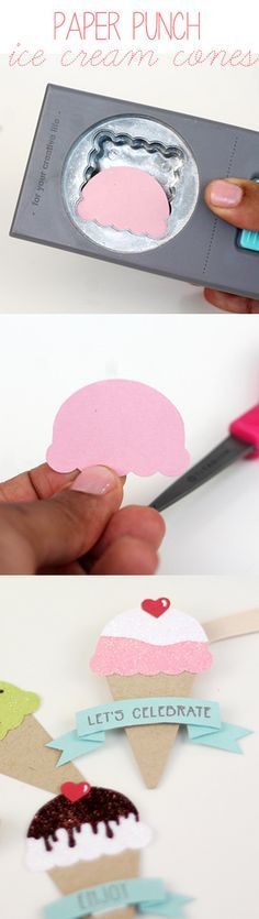 "DIY Paper Punch Ice Cream Cones | Damask Love - Scallop Square and 1-3/4"" circle punches create the ice cream scoop."