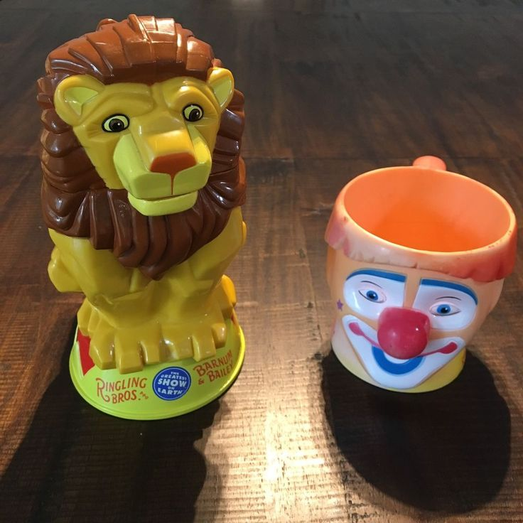 Ringling Brothers Barnum Bailey Clown And Lion Cup 3D Mug Plastic Circus #BarnumBailey