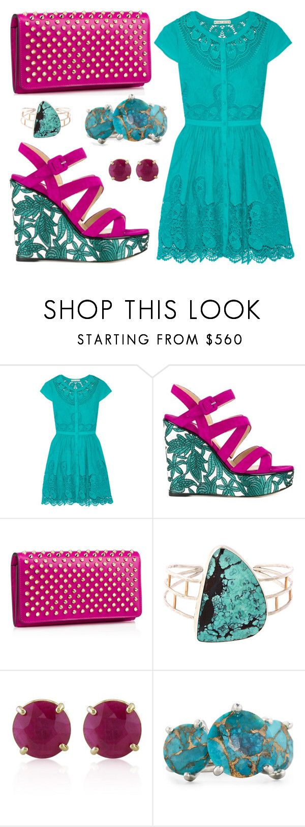 """Ruby Sea"" by leiastyle on Polyvore featuring Alice + Olivia, Paul Andrew, Christian Louboutin, Melissa Joy Manning, Belk & Co., Ippolita, lace and turquoise"