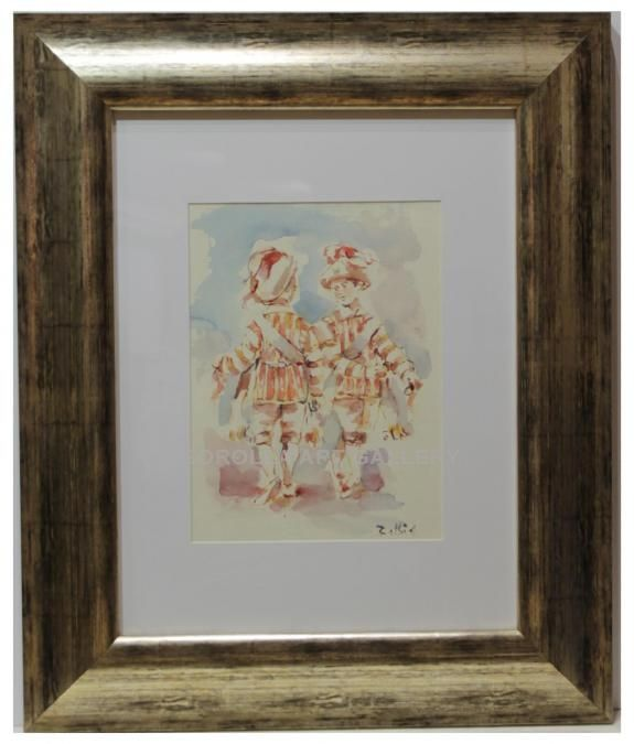 Balbin : Seises. Medium: Watercolour on paper Measurements (cm): 58x48 Canvas measurements (cm): 30x20 Interior frame: No.   Beautiful painting of a religious theme: dancer children who is part of the chorus that perform at the Cathedral of Seville. $179.56