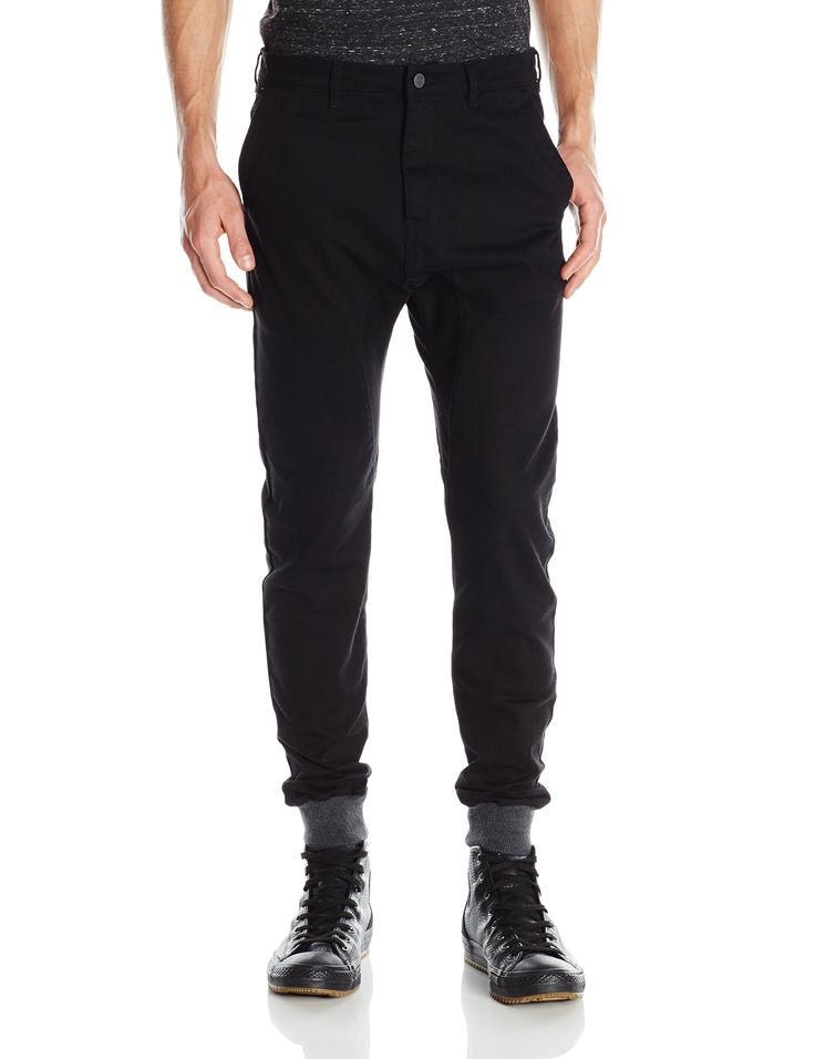 Zanerobe Men's Dynamo Chino Jogger Pant with Knit Cuff, Black, 34