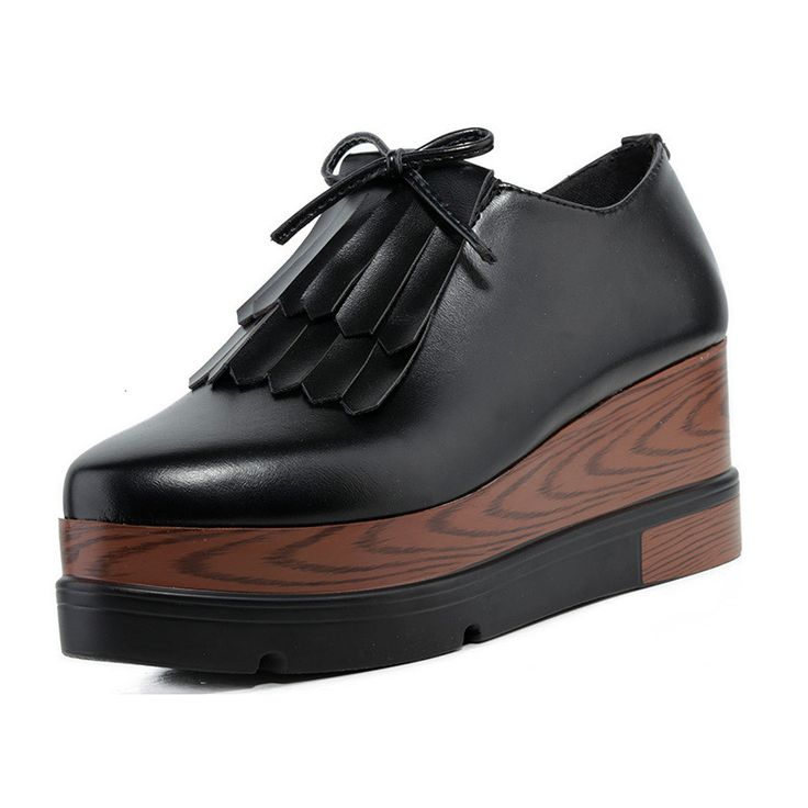 Women Platform Creepers Tassel Leather Women's Oxfords Shoes Casual