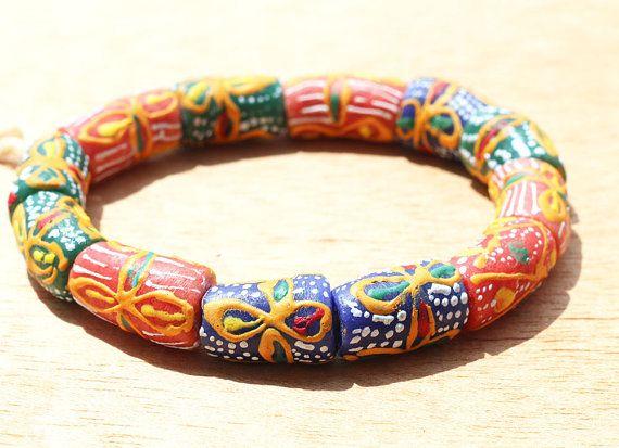 Krobo beads Kente Design beads African Recycled by Krobobeads