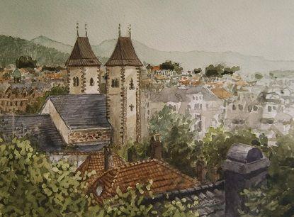 Kunstneren i Bergen: Mariakirken, Bergen, akvarell