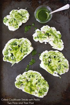 Grilled cauliflower steaks w/pesto..delicious side or main dish & for your vegan gluten free guests, it's perfect! – More at http://www.GlobeTransformer.org